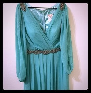 May Queen Couture size XL seafoam gown